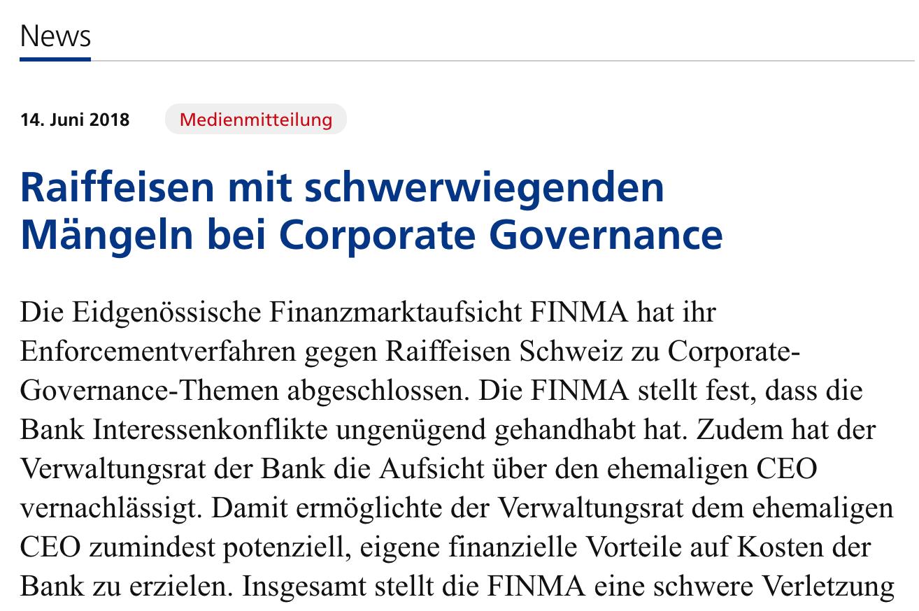 Das geht aus der Verfügung der Finma von heute gegen die drittgrösste  Schweizer Bank hervor. Die Finma sieht schwere Verstösse und drückt der  Zentrale in ...